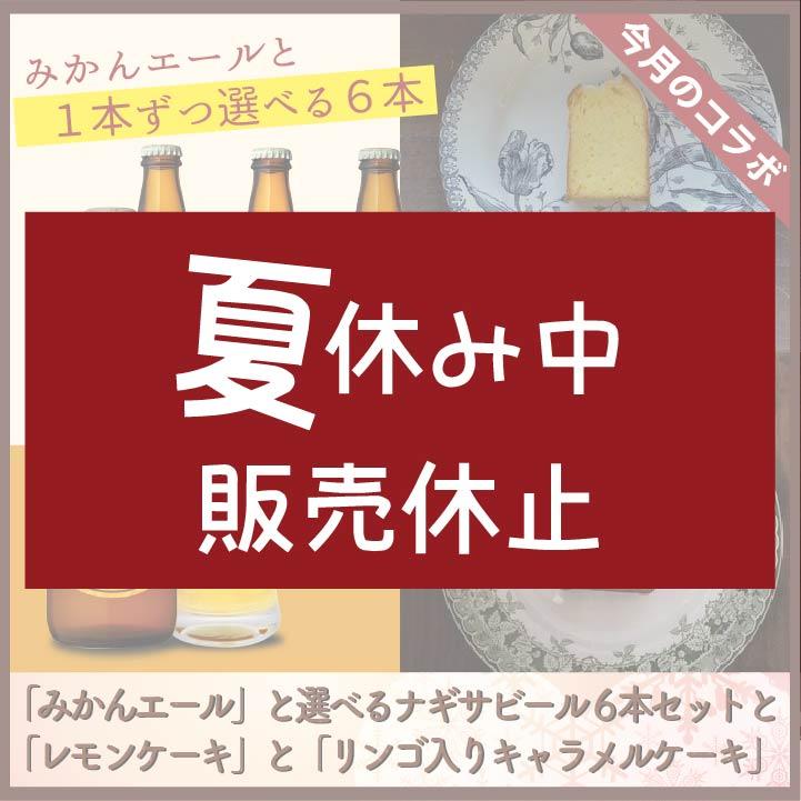 「みかんエール」と選べるナギサビール6本セットと「レモンケーキ」と「リンゴ入りキャラメルケーキ」各1個