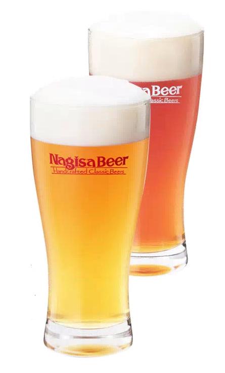 ナギサビールのグラス写真